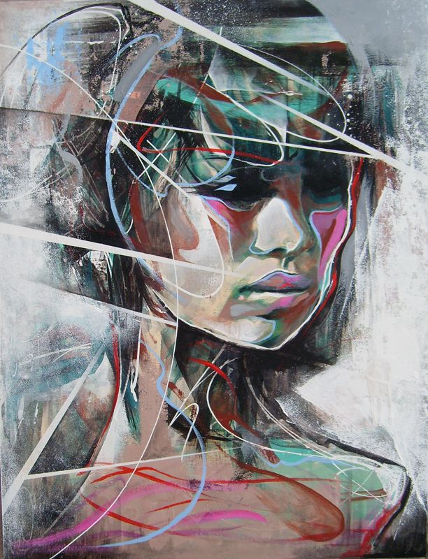 Danny O'Connor, aka DOC, is a UK-based artist whose riveting street art-style portraits incorporate a variety of mixed media. He combines physically handcrafted elements with digital editing tools like Photoshop to add a unique layer to his already beautifully painted works