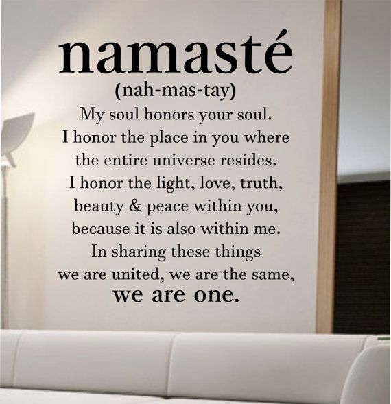 namaste definition quote Wall Decal namaste by StateOfTheWall