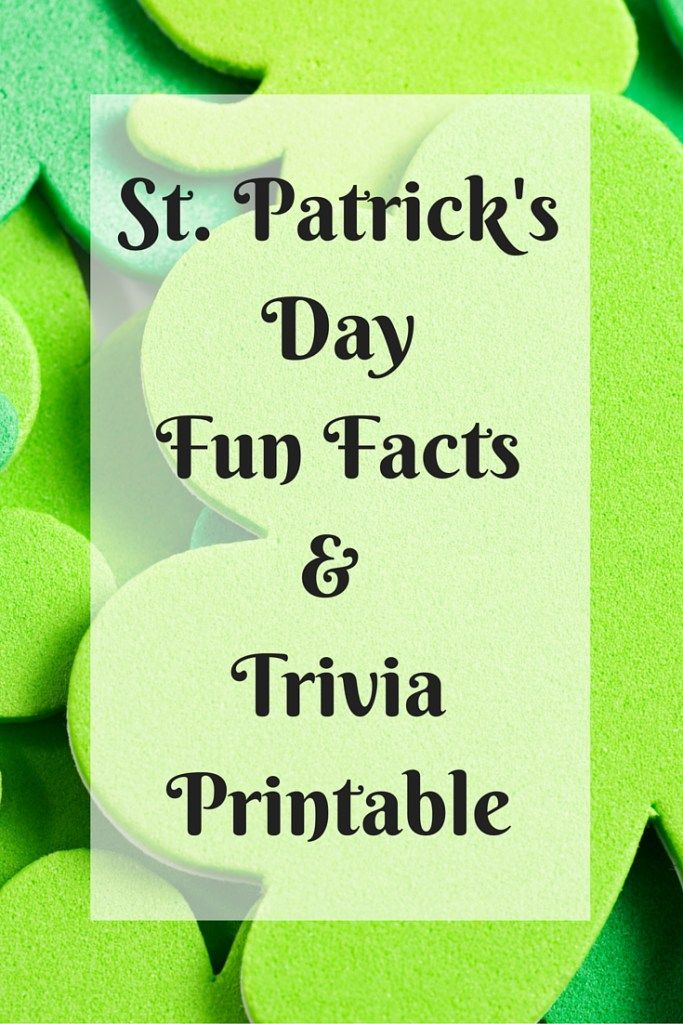 St. Patrick's Day Fun Facts & Trivia Party Printable