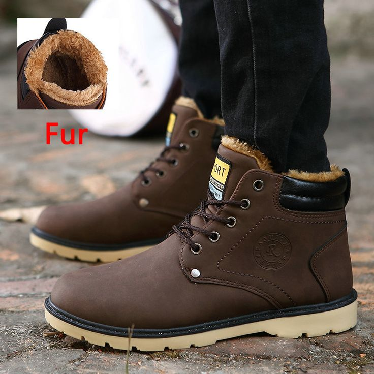 Men's Leather Ankle Boots Waterproof Snow Boots Leisure Martin