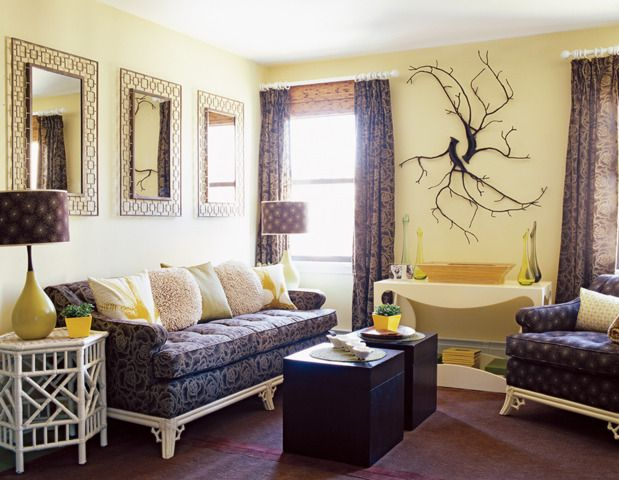 Weston Flax wall paint by Ben Moore. Nice yellow living room paint color.