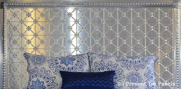 Assembled Pressed Tin Panels bedhead features the Clover pattern, Egg Border and corner Rosettes