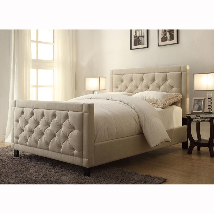 Natural Linen Queen Size Button Tufted Upholstered Bed Upholstered Beds Furniture