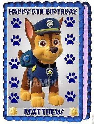 PAW PATROL CHASE EDIBLE CAKE TOPPER BIRTHDAY DECORATION