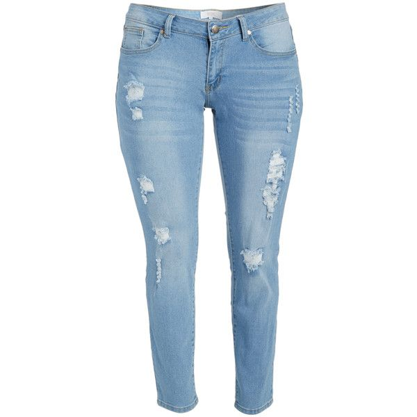Western Trading Company Light Blue Distressed Straight Leg Jeans ($25) ❤ liked on Polyvore featuring jeans, plus size, rock n roll cowgirl jeans, rock n roll cowboy jeans, ripped jeans, light blue ripped jeans and distressed jeans
