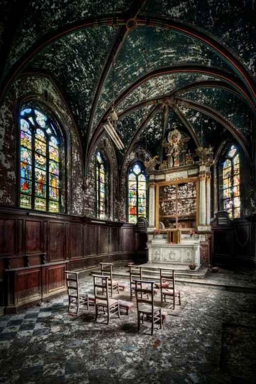 Abandoned Church .. lovely stained glass                              …                                                                                                                                                                                 More