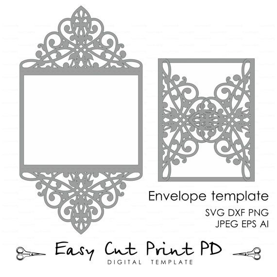 Wedding invitation Card Template Lace folds от EasyCutPrintPD
