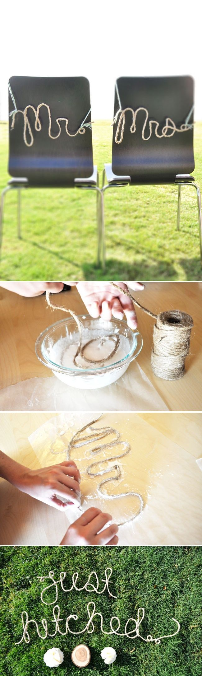 diy rope words - tutorial from green wedding shoes, here: http://greenweddingshoes.com/diy-rope-words-for-your-wedding-day/