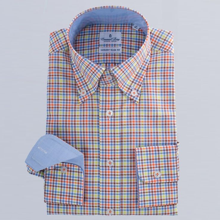 Emanuel Berg  check print cotton shirt  PERFECT DRESS SHIRT LUXURY SLIM FIT