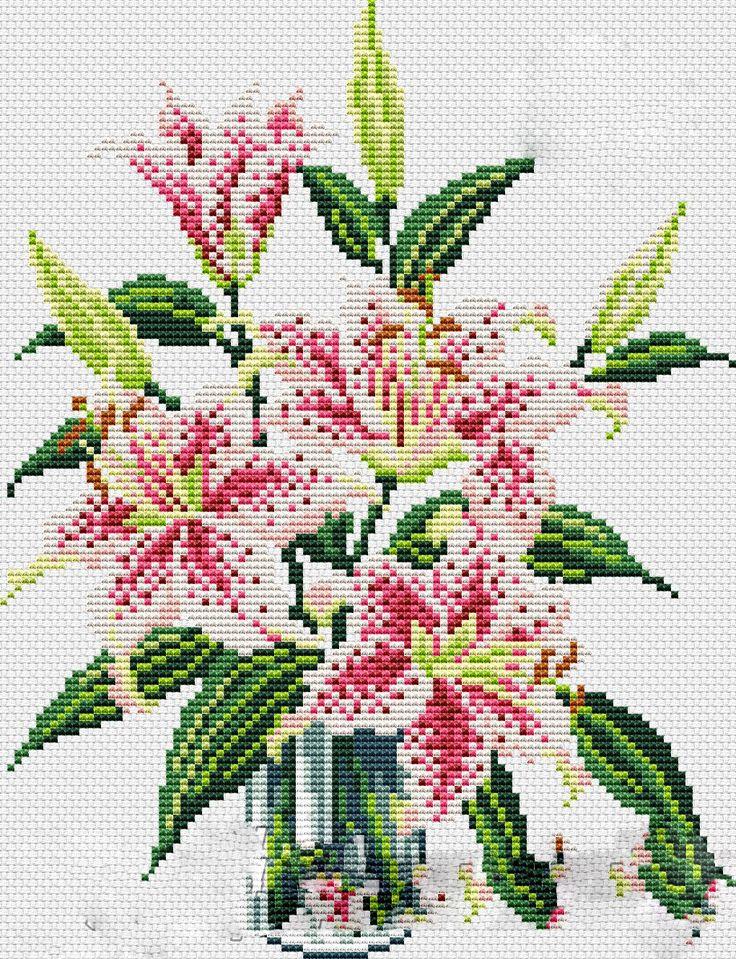 Kanaviçe Zambak Çiçeği Örnekleri (1)