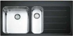 Franke Crystal Glass EOV 651 Cam Evye, Sağ Damlalıklı, 1,5 Göz, Siyah