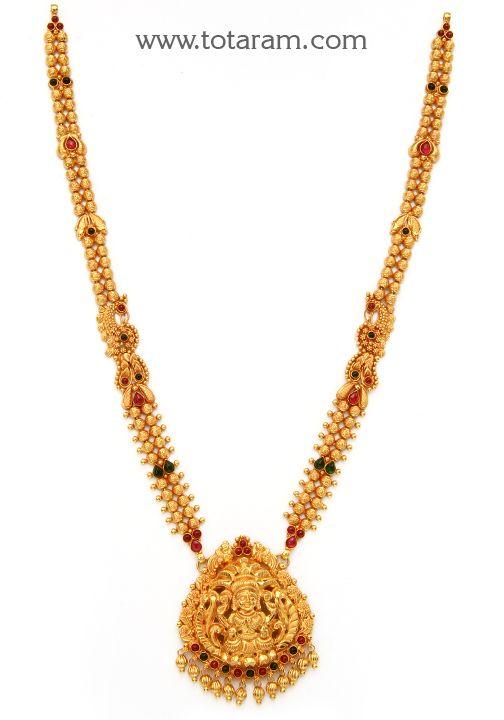 22K Gold '2 in 1' Lakshmi Long Necklace (Temple Jewellery)