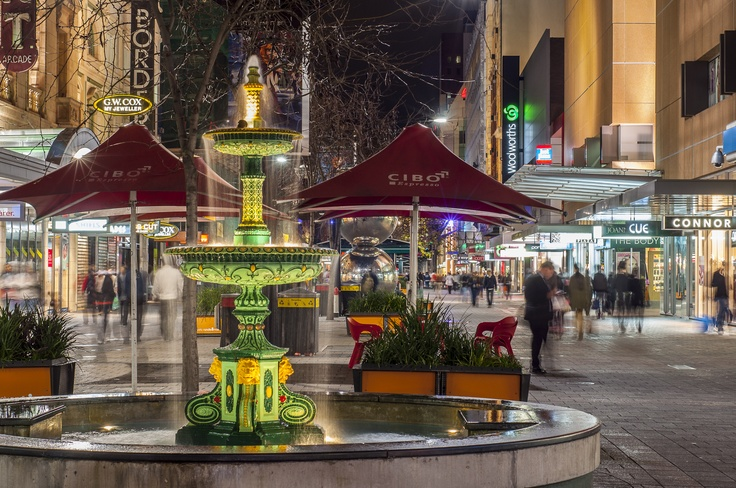 Adelaide's Rundle Mall by night