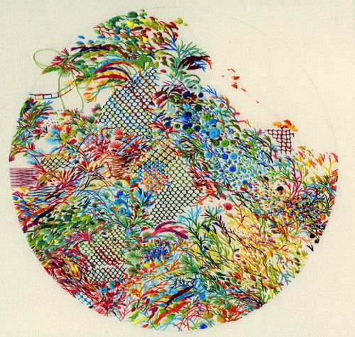 Embroidery by artist Jacob Magraw The colours and the design is amazing but the thing that interested me the most was that it is done with a circle edge which creates a beautiful design as a whole.