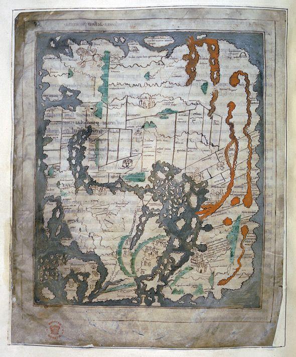 Anglo-Saxon Mappa Mundi, 1025-1050
