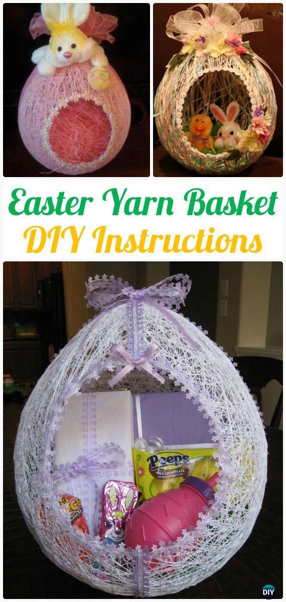 DIY Egg Shape Easter Yarn Basket Instruction- Yarn Crafts Ideas No Crochet
