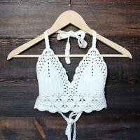 bohemian crochet crop top - small / white