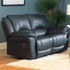 Black Leather Double Recliner Loveseat on sale now!