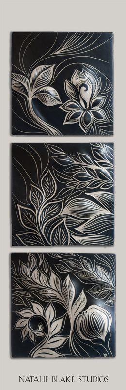 Natalie Blake Studios Botanical Triad with More Black ~ handmade sgraffito carved ceramic tiles ~ perfect for wall art or backsplash applications