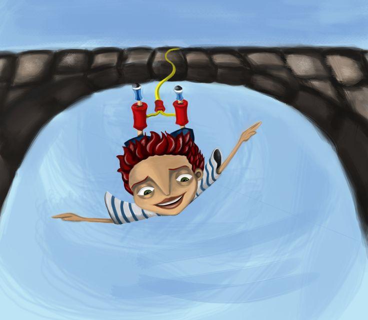 Bungee Jumping  Ilustración digital