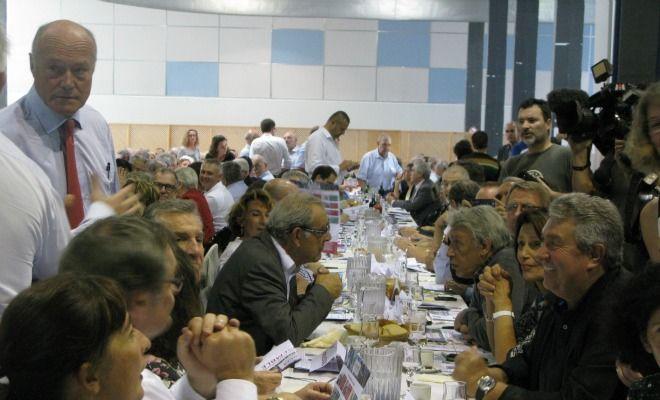 Alain Rousset, avec Henri Emmanuelli et Gilbert Mitterrand dans les Landes pour un banquet des territoires