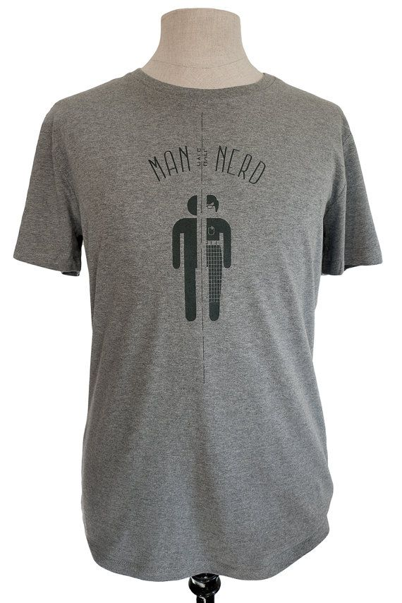 Half Man Half Nerd t-shirt, mid heather grey with black print, eco friendly, fair wear, by Poor Edward