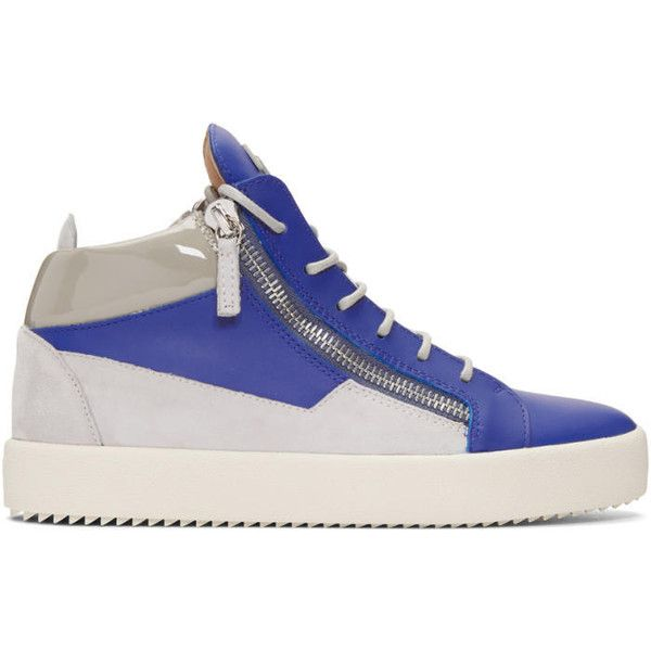 Giuseppe Zanotti Indigo and Grey May London High-Top Sneakers ($650) ❤ liked on Polyvore featuring men's fashion, men's shoes, men's sneakers, indigo, mens grey shoes, mens gray shoes, mens round toe shoes, mens lace up shoes and mens high top shoes