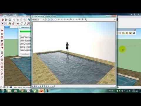 Como crear agua en Vray Sketchup - YouTube
