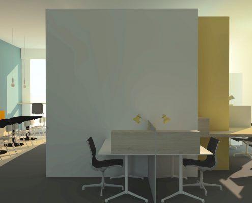 Interieurontwerp flexplekken bedrijfsontwerp zakelijk ontwerp Mixl Sneek door De Binnenstudio