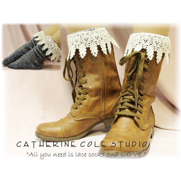 Short boot sock, combat boot sock lace, lace boot sock, boot sock, boo... via Polyvore