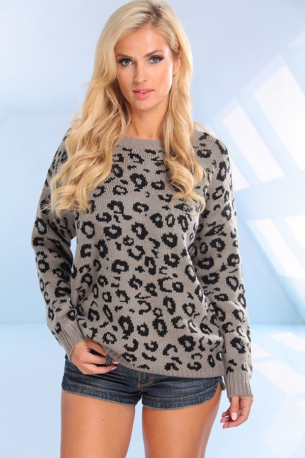 GREY BLACK LEOPARD PRINT KNIT PULL OVER SWEATER TOP,