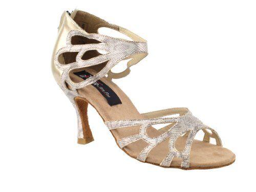 Very Fine Ladies Women Ballroom Dance Shoes Beige Snake Heel