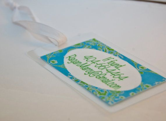 2 Laminated and Waterproof Children's Bag Tags  - Custom Diaper Bag Tag or Luggage Tag. $5.95, via Etsy.