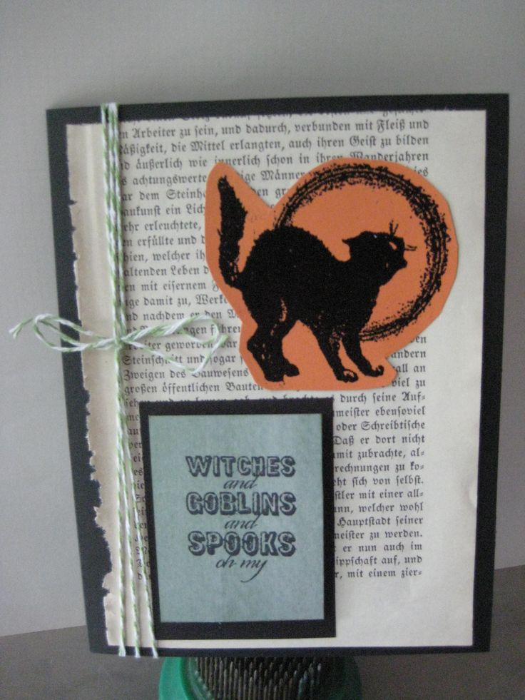 CAS Stampin up sentiment, gothic type rescued book page and Halloween cat.