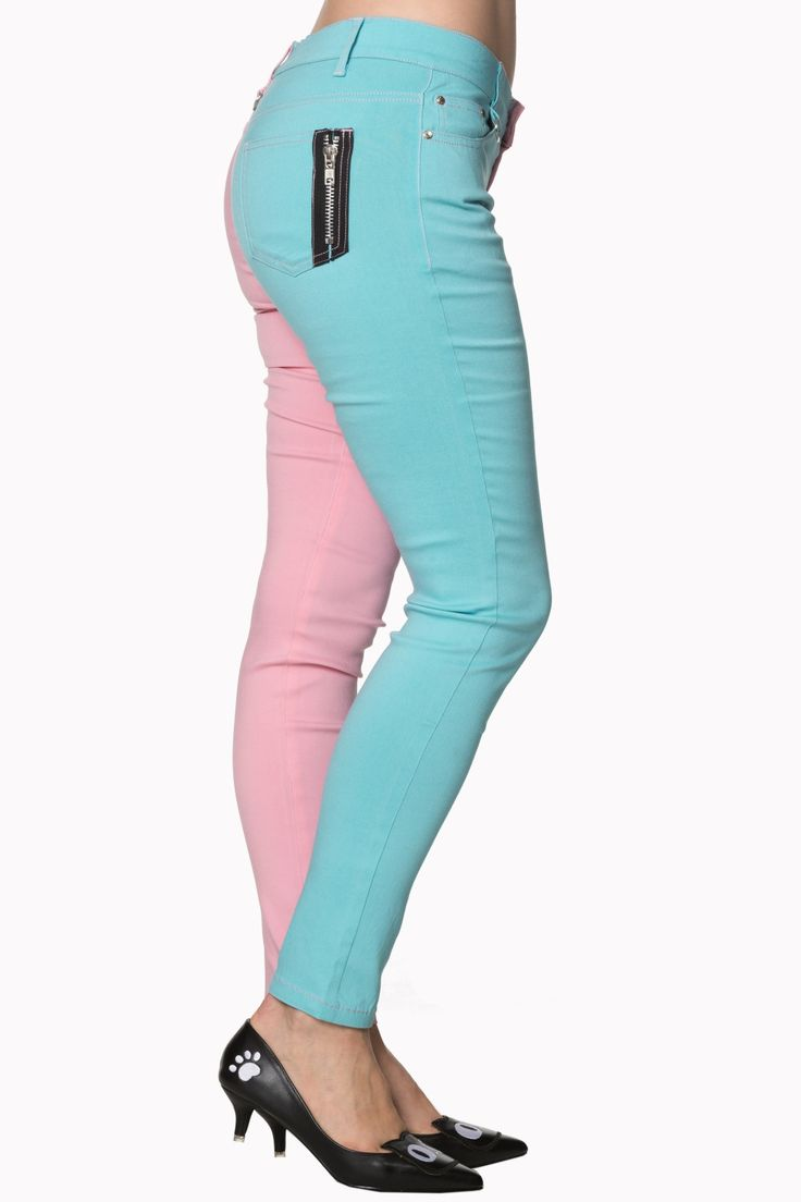 Split Leg Skinny pants in funky pastel pink and mint color. Stretchy lightweight poly-cotton blend in a traditional 5-pocket skinny cut, with zip fly with button fastening, finished with branded metal