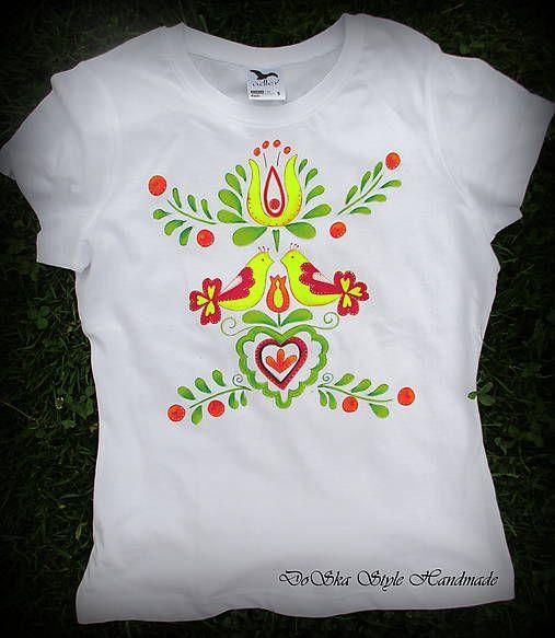 DoSka_Style_Handmade / Slovenský ľudový vzor maľovaný na tričku