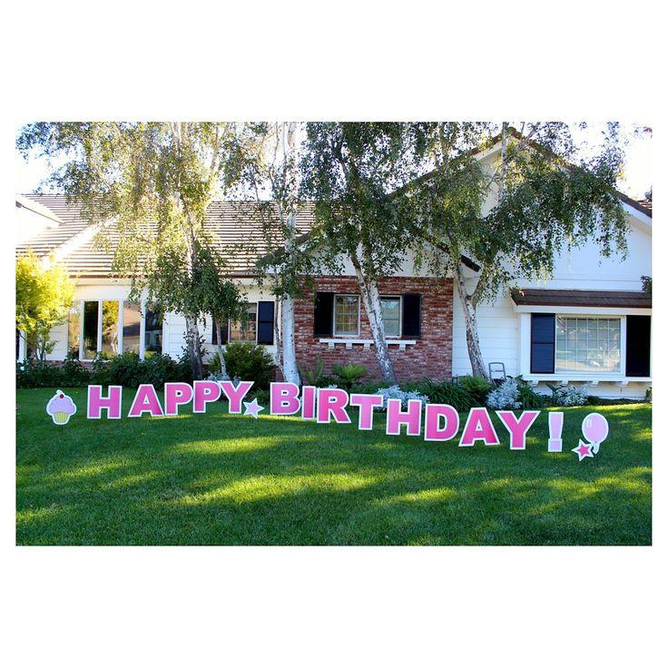 Happy Birthday Pink Yard Sign, Bubble Gum