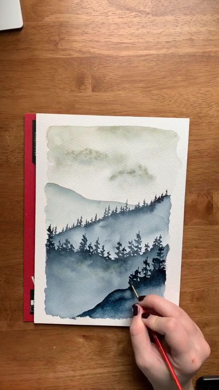 Watercolor misty mountain 🏔