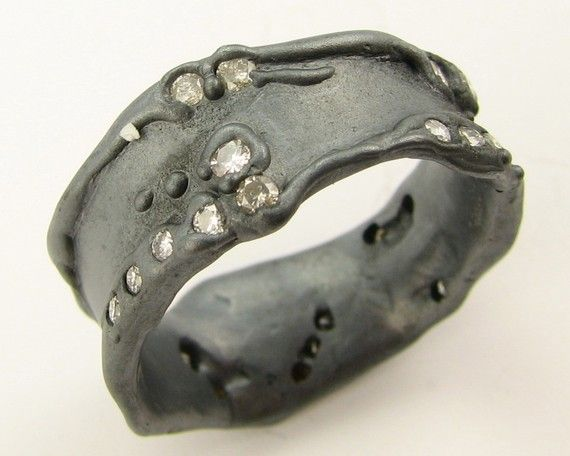 Melted Diamond Path Band by wexfordjewelers on Etsy, $781.00