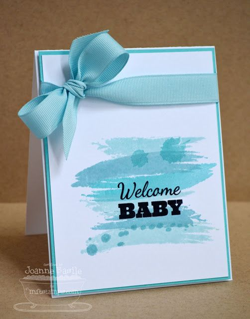 #SU - Love the ribbon tied on the side on this sweet baby card...just a little something....