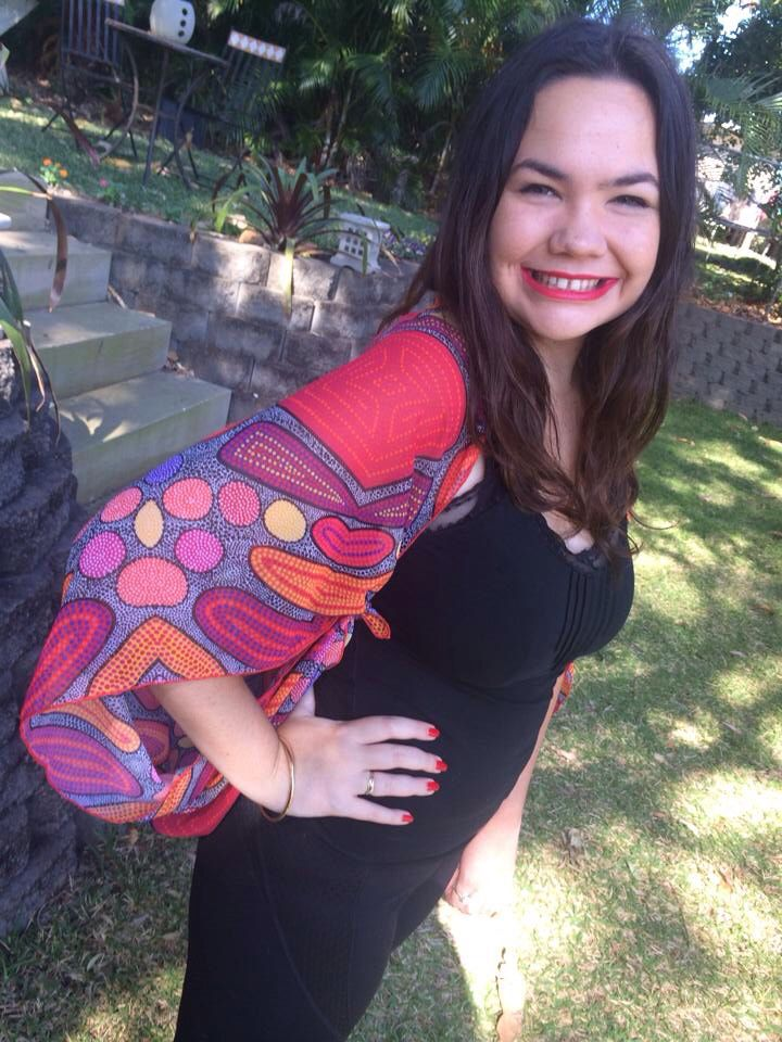 """""""Trusting the Process"""" wrap - worn as a jacket, a shawl and a wrap for the waist!! $130 including P&H from www.wensart.com.au #wensart #wensartfabric #contemporary #indigenous #artist #art #australia #chiffon #wrap #jacket #shawl #women #fashion #womensfashion #fall"""