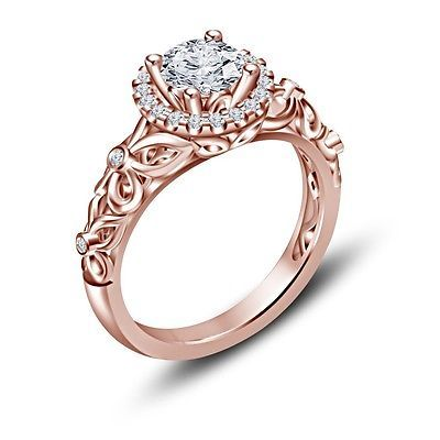 14K Rose Gold Over 925 Silver CZ Disney Princess Snow White Engagement Ring 5 6