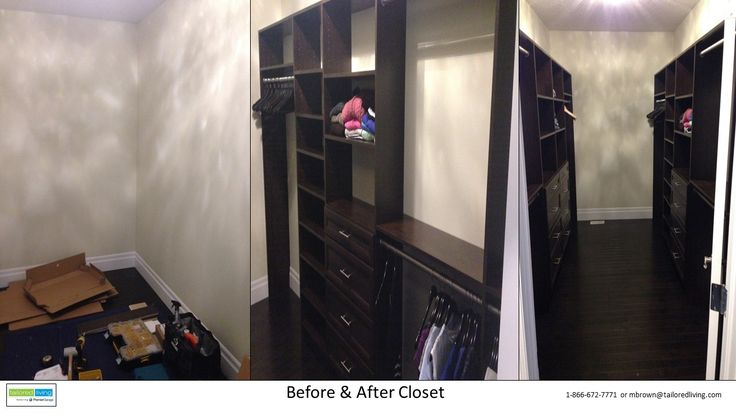 A larger walk-in closet that otherwise had the typical wired shelving from the builder. The dark chocolate with satin nickel hardware makes a bold statement and tons of storage!