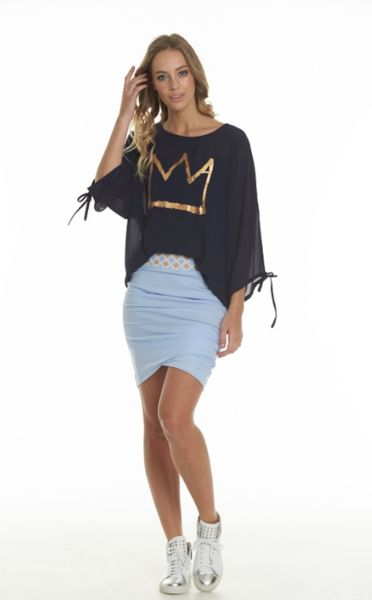 Charlo Mia Crown Top Navy chiffon with cuff ties with an open shoulder split, foil gold crown print.
