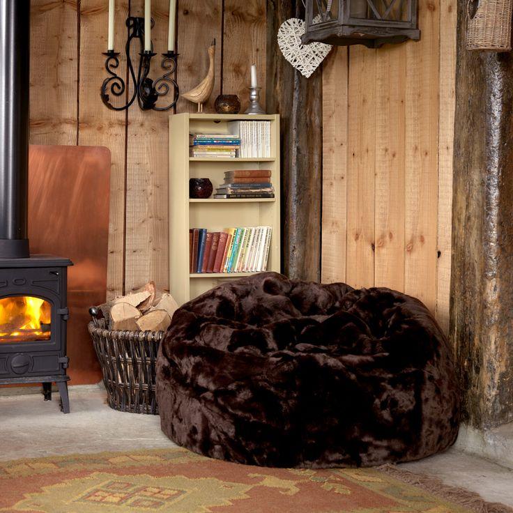 Brown Luxury Faux Fur Bean Bag | BeanBagBazaar #fauxfur #Christmas #cosy