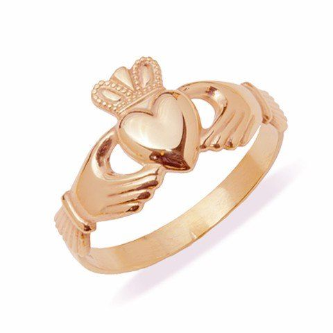 Rose gold claddagh ring. The elements of this symbol are often said to correspond to the qualities of love (the heart), friendship (the hands), and loyalty (the crown).