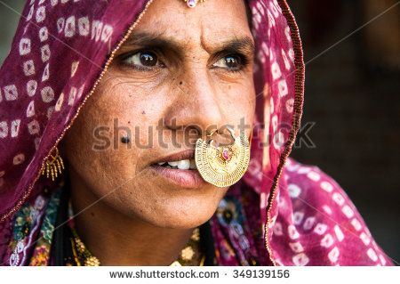 Jodhpur, Rajasthan, India. March 2012. An unidentified Indian woman in traditional gold jewelry