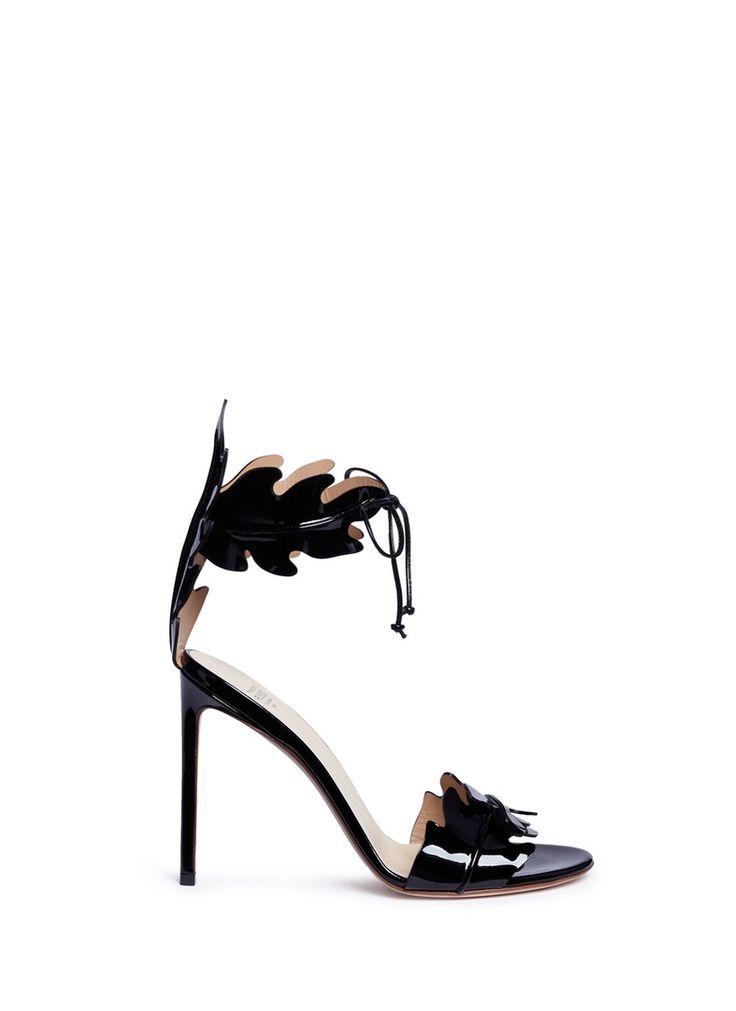 FRANCESCO RUSSO Leaf Cutout Patent Leather Sandals. #francescorusso #shoes #sandals