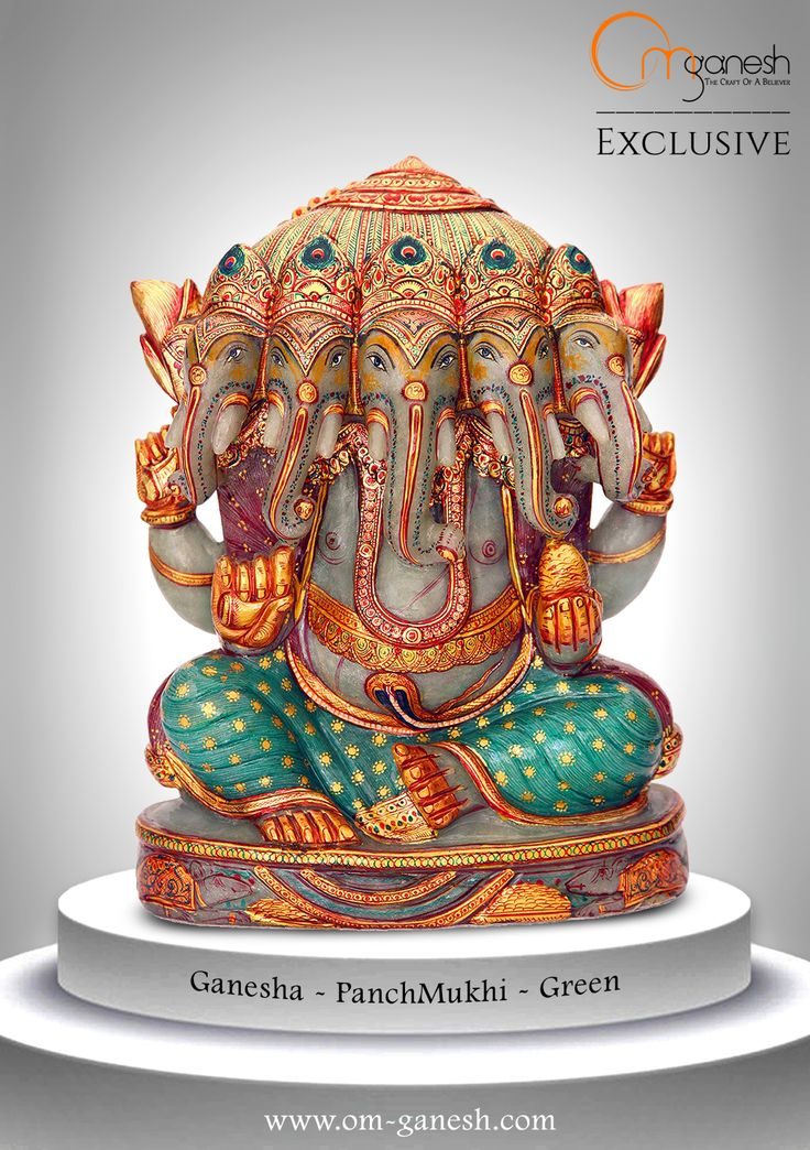 Each of the five heads of the Panchmukhi Ganesha idol stand for - the flesh body made of matter, the energy body, the mental body, the body of the Upper Consciousness and the body of Cosmic Bless.