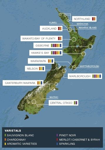 NZ Wine Regions Map - NZ Wine Growers
